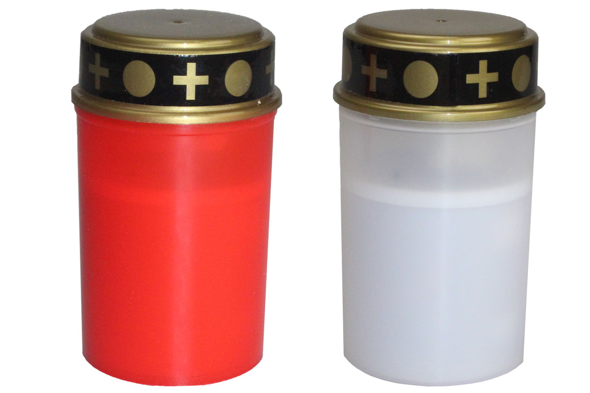 led grablicht grableuchte kerze 180 tage leuchtdauer inkl batterie rot weiss ebay. Black Bedroom Furniture Sets. Home Design Ideas