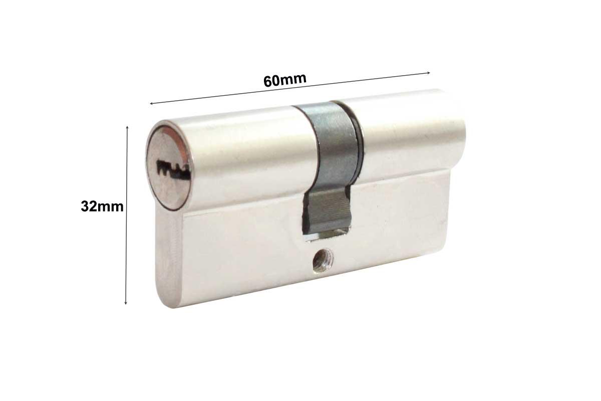 sicherheitsschloss 60mm silber t rzylinder schlie zylinder set schloss neu ebay. Black Bedroom Furniture Sets. Home Design Ideas
