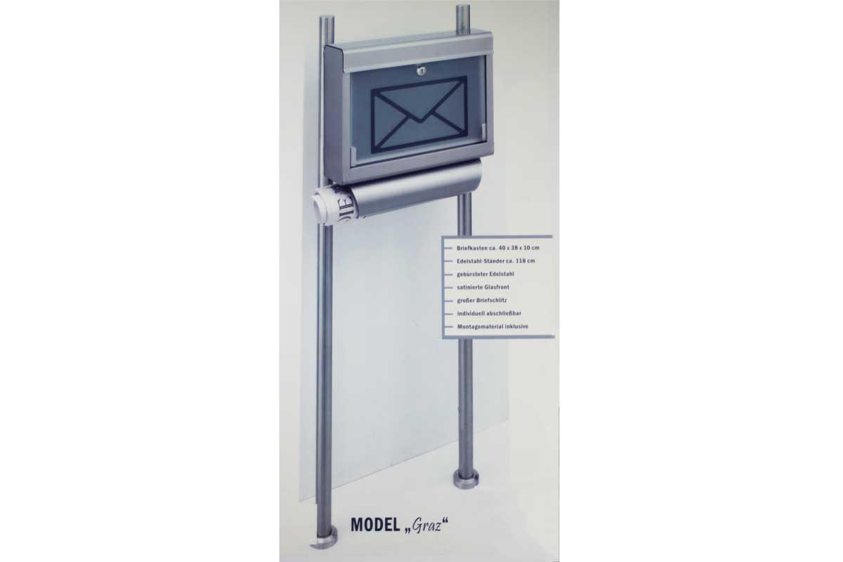 edelstahl standbriefkasten briefkasten zeitungsfach brief zeitung werbung graz. Black Bedroom Furniture Sets. Home Design Ideas