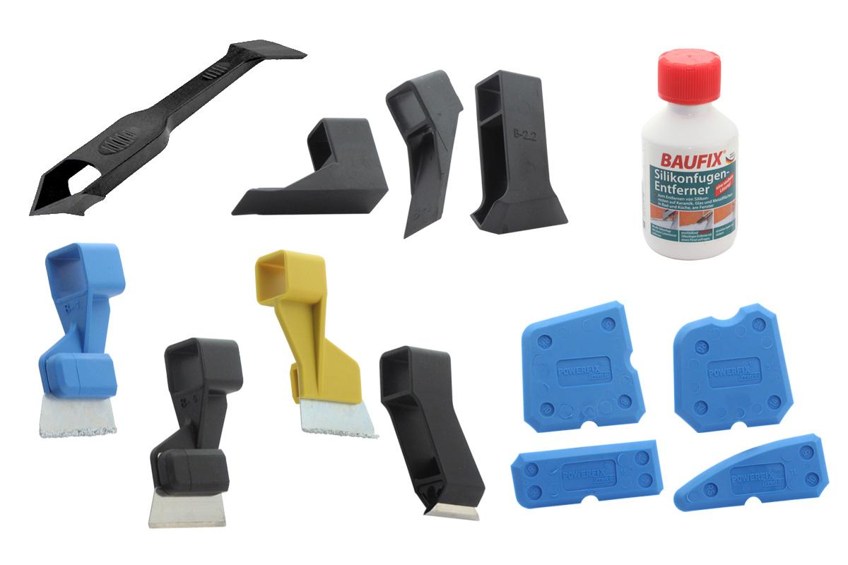silikonfugen entferner fugenmesser schneideaufs tze sets fugengl tter set ebay. Black Bedroom Furniture Sets. Home Design Ideas