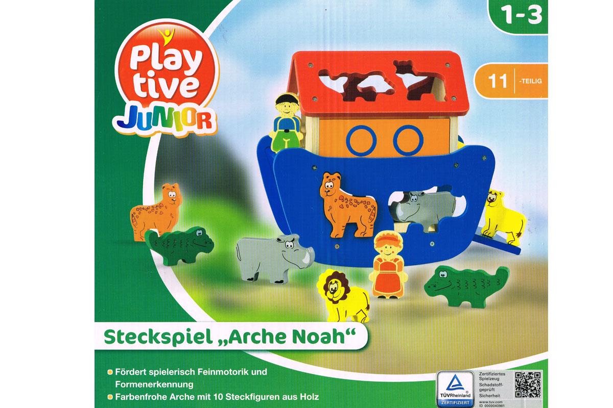 playtive junior holz steckspiel arche noah feinmotorik formenerkennung spielzeug ebay. Black Bedroom Furniture Sets. Home Design Ideas