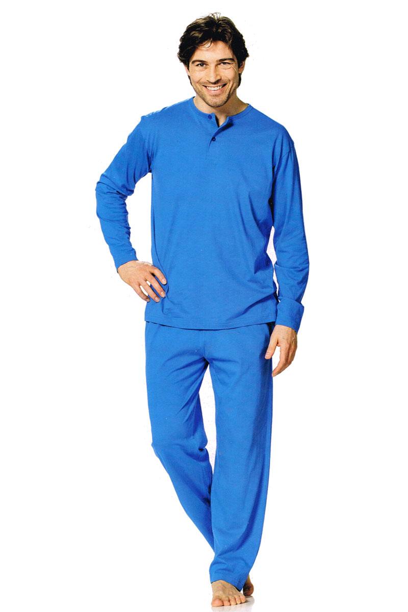 herren pyjama schlafanzug 2teiler oberteil hose 3 knopf leiste 3crowns blau xl ebay. Black Bedroom Furniture Sets. Home Design Ideas