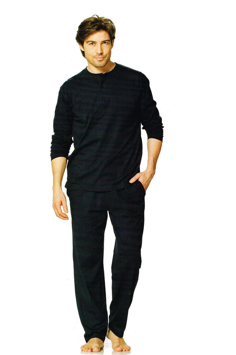 herren pyjama schlafanzug 2teiler oberteil hose 3 knopf leiste dunkelblau l ebay. Black Bedroom Furniture Sets. Home Design Ideas