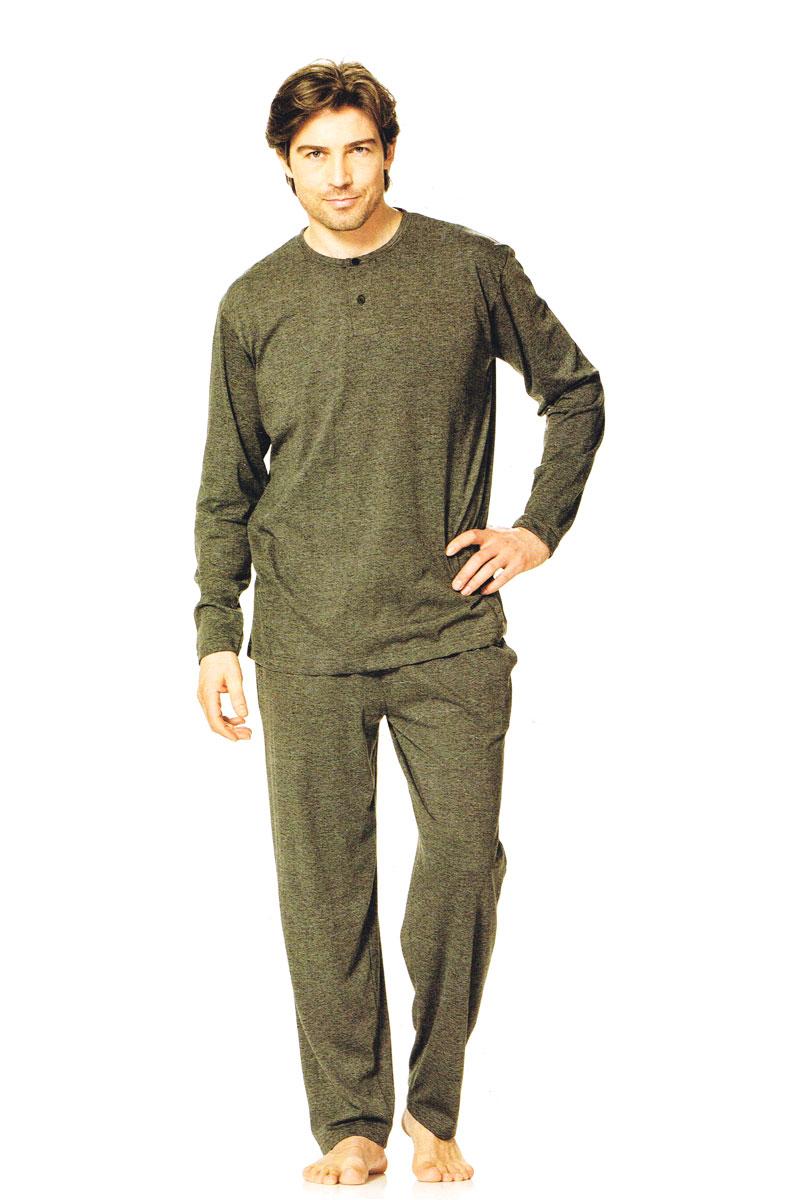 herren pyjama schlafanzug 2teiler oberteil hose 3 knopf leiste grau xxl ebay. Black Bedroom Furniture Sets. Home Design Ideas