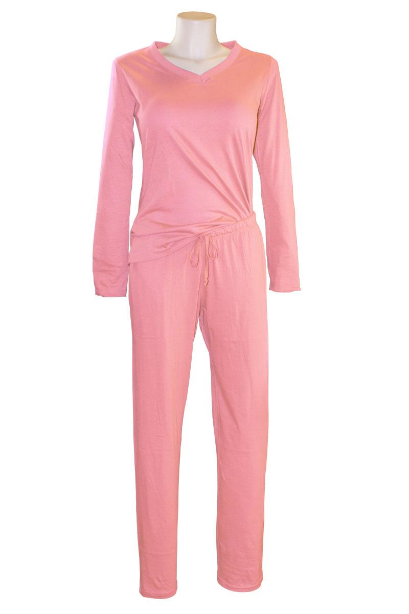 damen pyjama schlafanzug rundhals nachtw sche langarm v. Black Bedroom Furniture Sets. Home Design Ideas