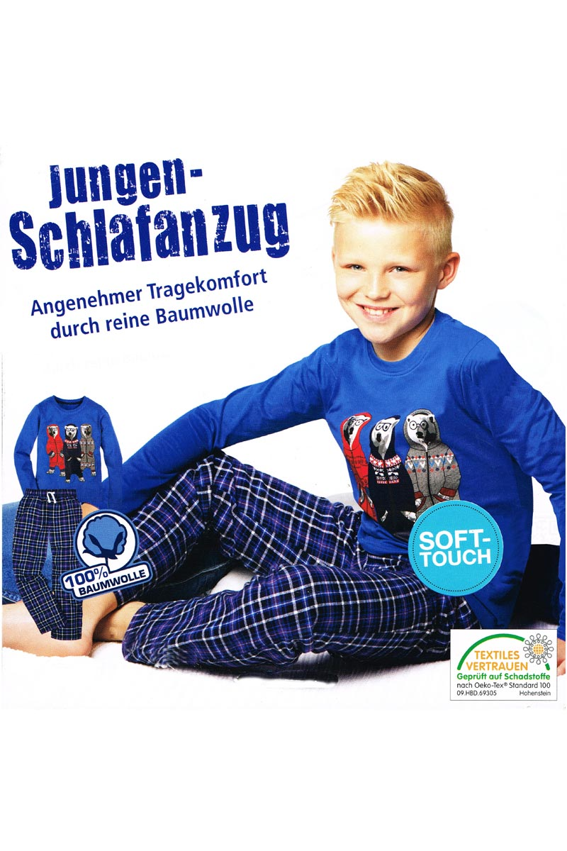 jungen kinder flanell schlafanzug pyjama langarm 2 teiler hellblau 122 128 ebay. Black Bedroom Furniture Sets. Home Design Ideas