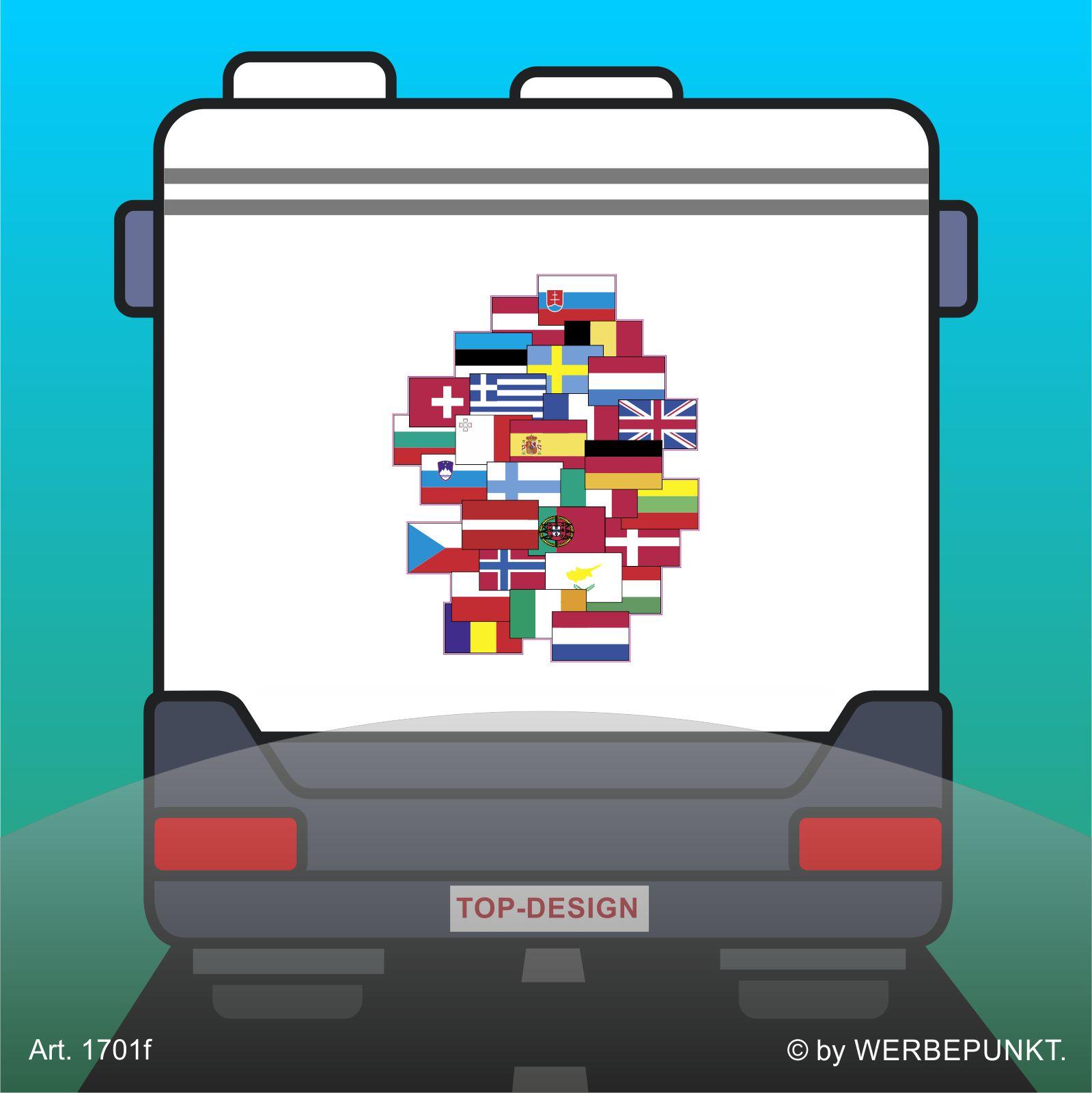 Sticker Wohnmobil Europa Flaggen Autotattoo Aufkleber Ca