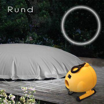 aufblasbare winterabdeckung pool rund im set pumpe und gummiseil farbe grau ebay. Black Bedroom Furniture Sets. Home Design Ideas