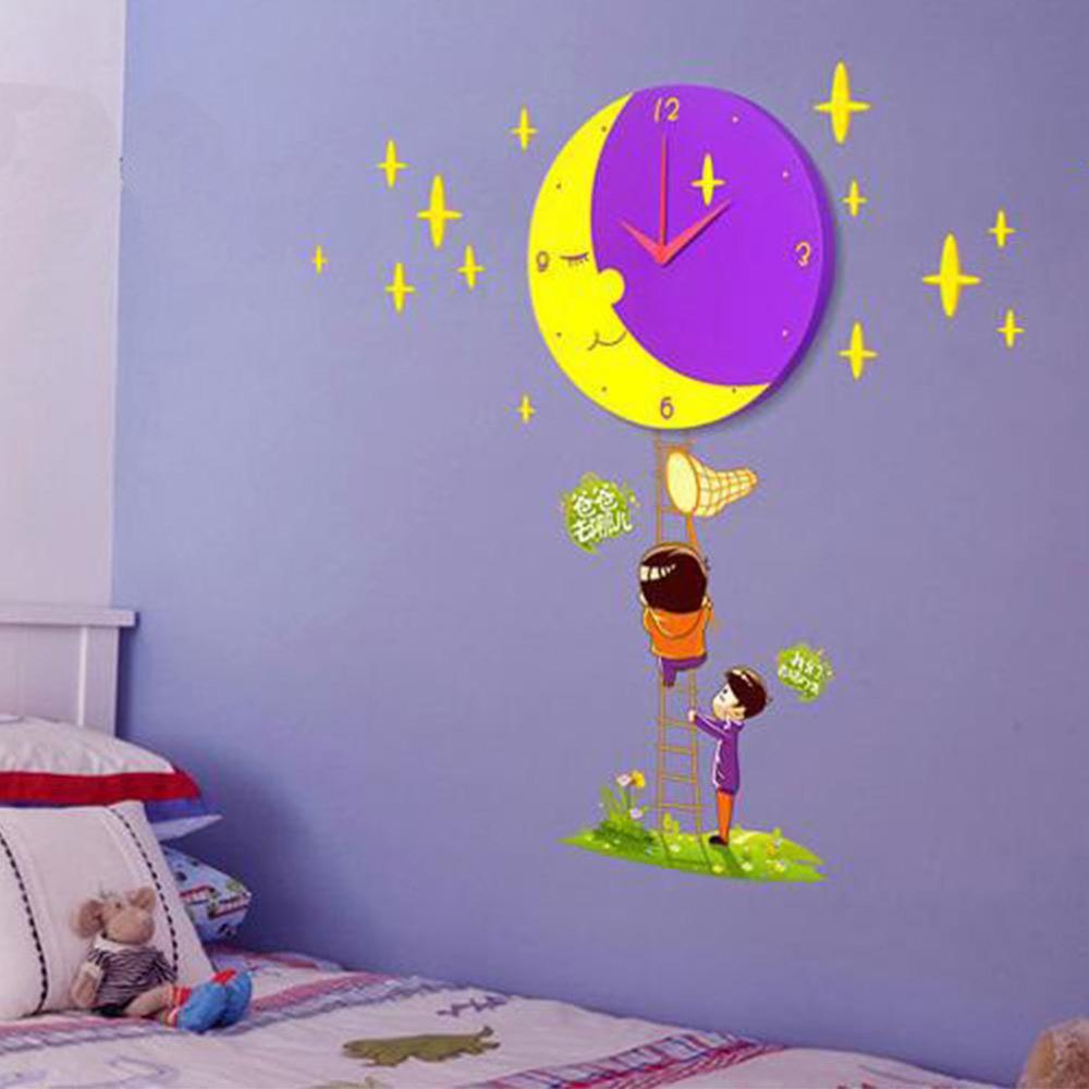 kinder mond wanduhr mit wandtattoo wanddekoration kinderzimmer ebay. Black Bedroom Furniture Sets. Home Design Ideas