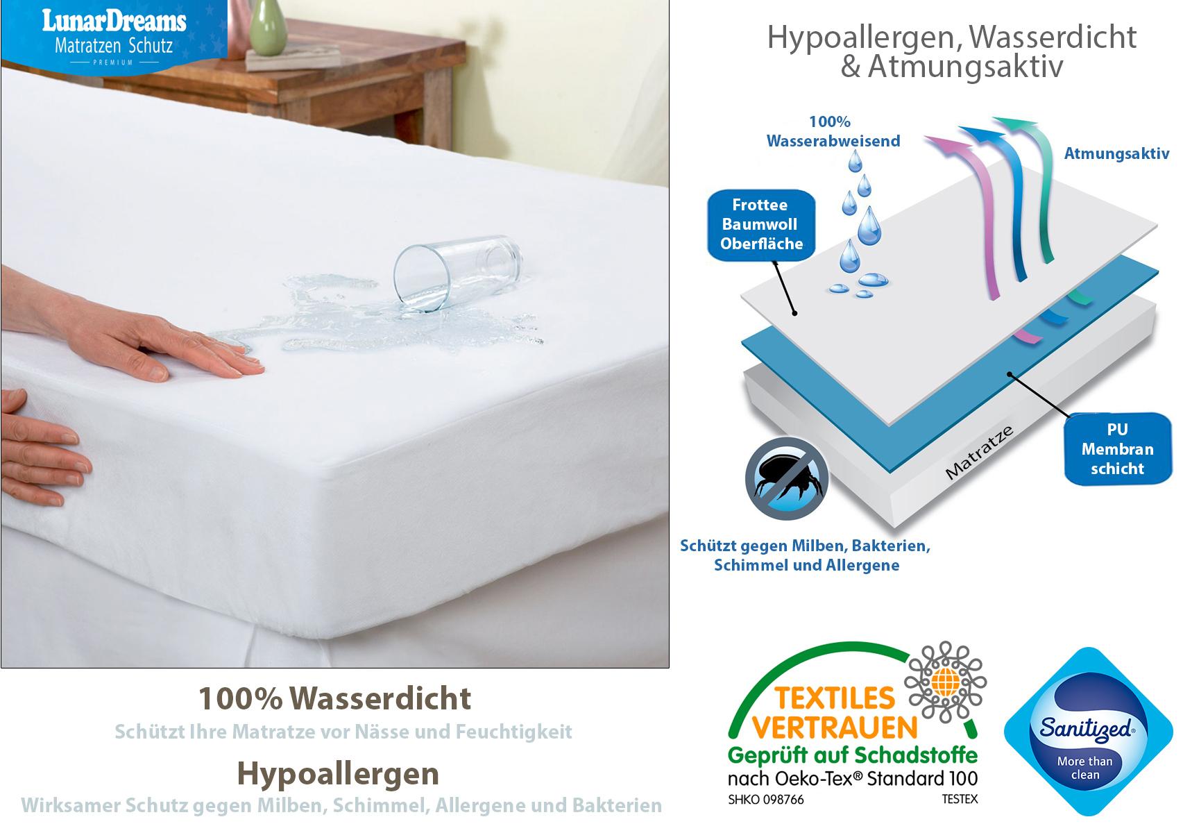 lunardreams matratzenschutz matrazenschoner wasserdicht und hypoallergen ebay. Black Bedroom Furniture Sets. Home Design Ideas