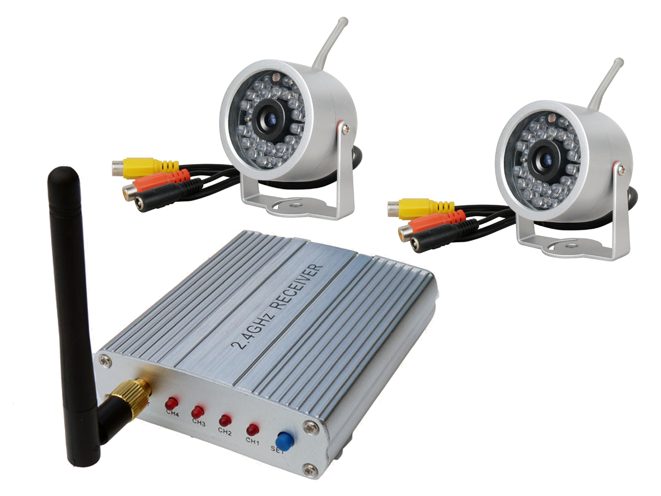 2 4ghz mini funk berwachungskamera video berwachung set mit 2 kameras ebay. Black Bedroom Furniture Sets. Home Design Ideas