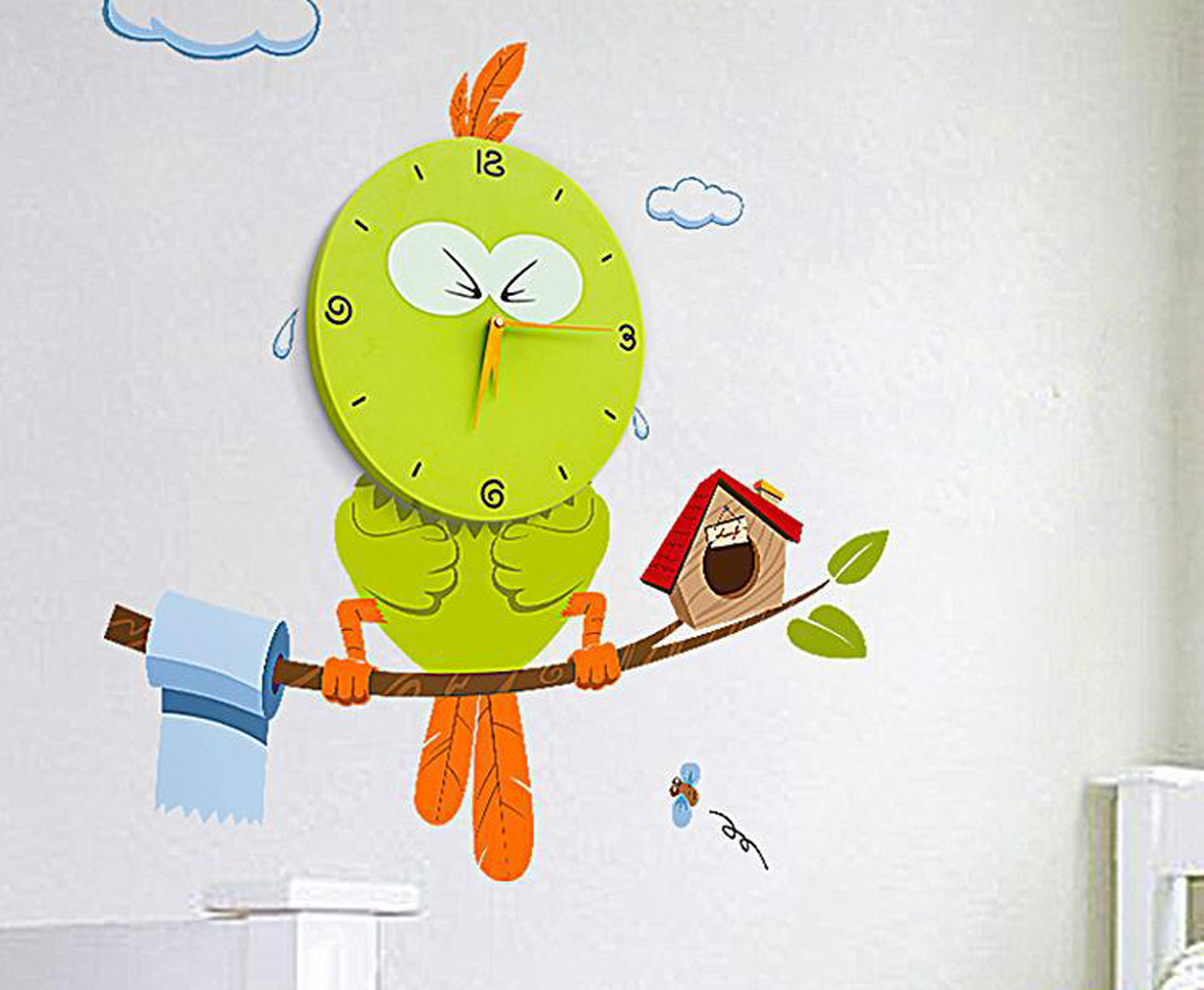 Kinder wanduhr vogel mit wandtattoo wanddekoration kinderzimmer ebay for Wanddekoration kinderzimmer