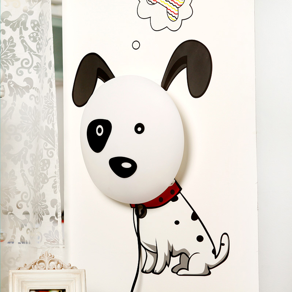 kinderlampe nachtlicht kinderzimmer mit wandtattoo kleiner hund ebay. Black Bedroom Furniture Sets. Home Design Ideas