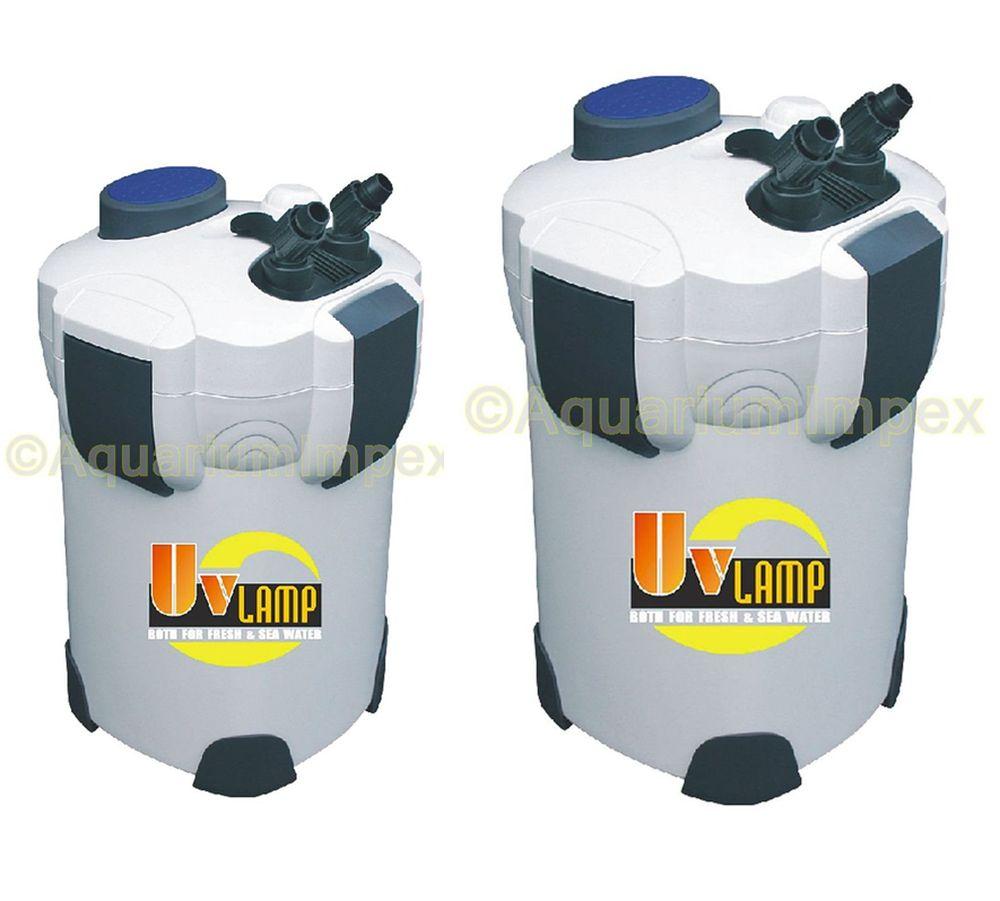 aquarium aussenfilter filter inkl uvc 9 watt uv lampe kl rer kammerfilter ebay. Black Bedroom Furniture Sets. Home Design Ideas