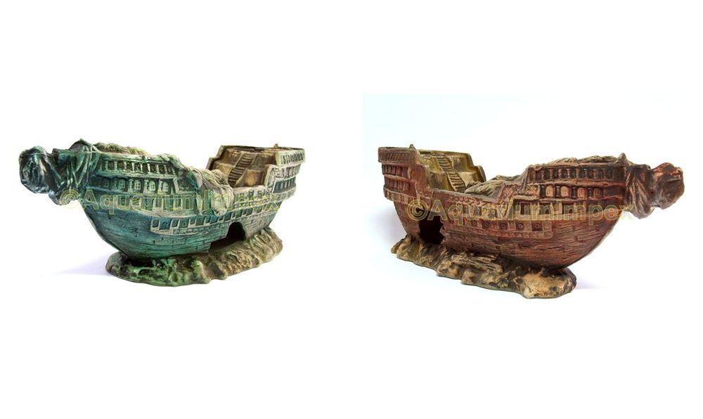 Aquarium-Deko-versunkenes-Schiffswrack-XL-30-cm-Piraten-Schiff-Boot-Wrack-KS402