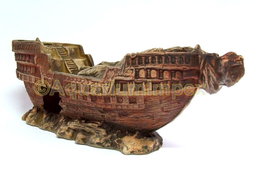 Aquarium Deko Versunkenes Schiffswrack Xl 30 Cm Piraten