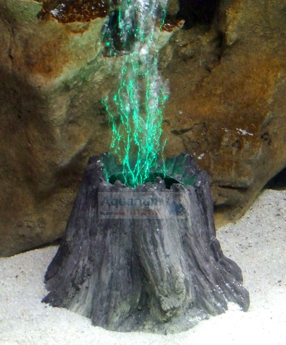 Aquarium-LED-Deko-VULKAN-o-BAUMSTUMPF-inkl-Luftausstroemer-Leuchte-Ausstroemer