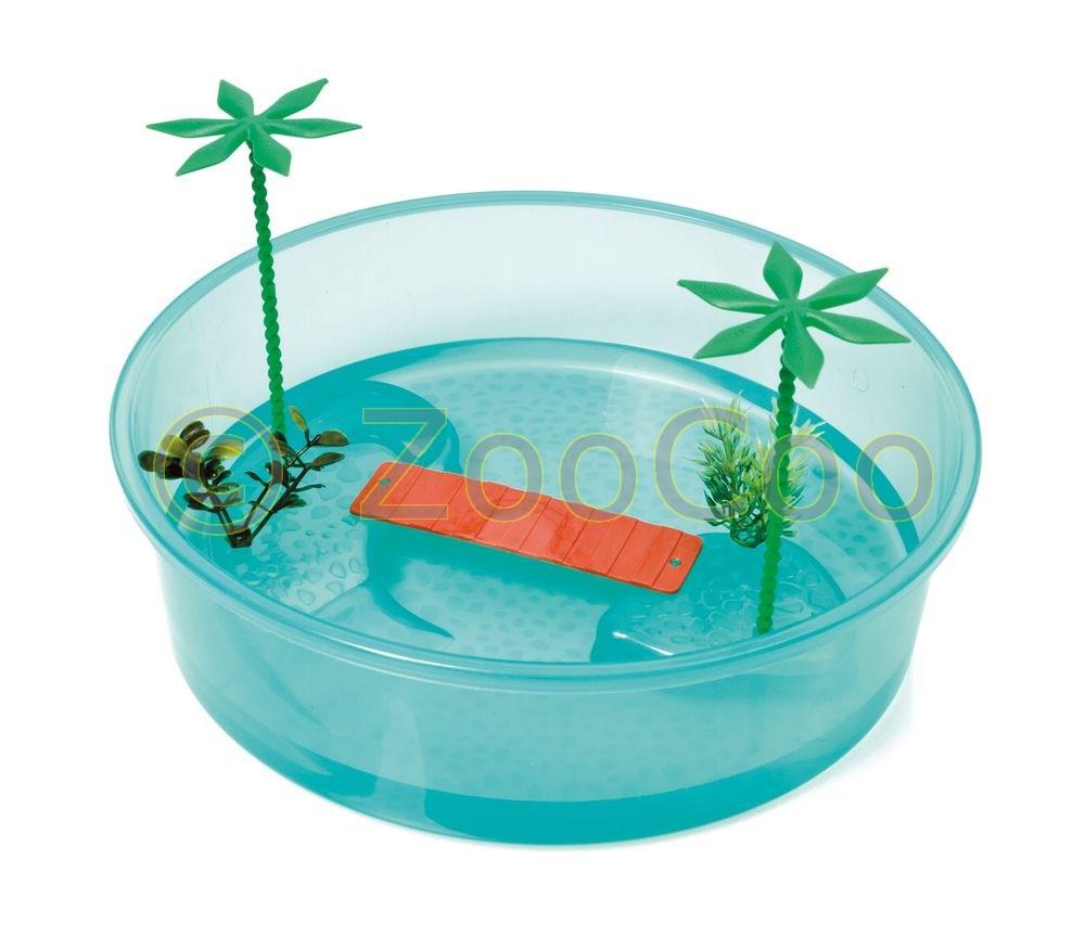 Schildkroeten-Terrarium-Insel-Aquarium-Becken-Heim-Wasserschildkroeten-rund