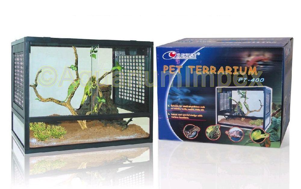 resun terrarium schiebet r glas kunststoff bel ftung glasterrarium pt 400 pt 600 ebay. Black Bedroom Furniture Sets. Home Design Ideas