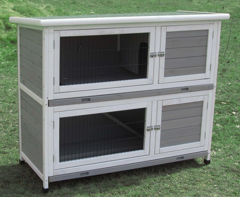 kleintierstall hasenstall kaninchenstall hasenk fig marbella 2 etagen weiss grau ebay. Black Bedroom Furniture Sets. Home Design Ideas